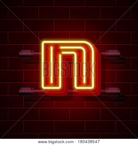 Neon city font letter N signboard. Vector illustration collection