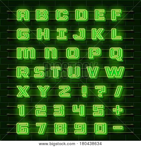 Neon font city. Neon green font english. City alphabet font. Vector illustration collection