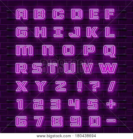 Neon font city. Neon purple font english. City alphabet font. Vector illustration collection