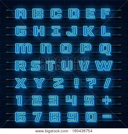 Neon font city. Neon blue font english. City alphabet font. Vector illustration collection