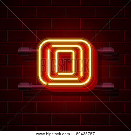 Neon city font letter O signboard. Vector illustration collection