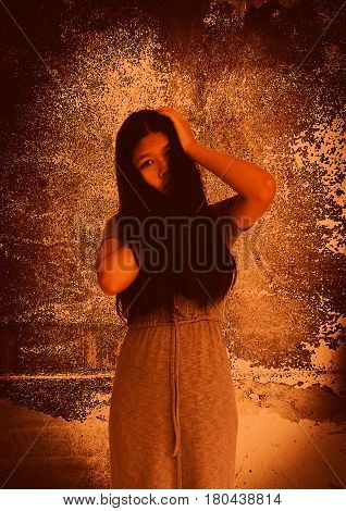 Ghost woman in Haunted House,Horror background for book cover