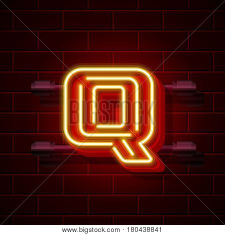 Neon city font letter Q signboard. Vector illustration collection
