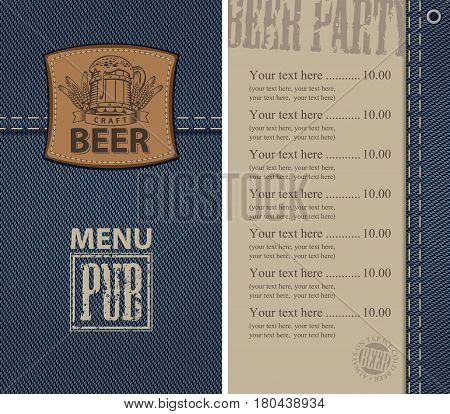 vector menu for beer pub on denim background with price list and a leather label with a picture of a beer mug
