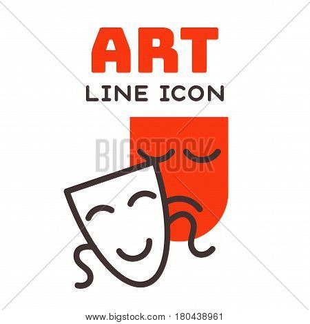 Comedy and tragedy theatrical masks comedy symbol and vector theater humor performance face illustration badge. Tragedy drama emotion masquerade carnival costume expression.