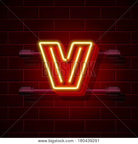 Neon city font letter V signboard. Vector illustration collection