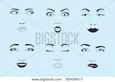 Girl emotion face cartoon vector illustration and woman emoji icon cute symbol character human expression sign female avatar tongue feeling. Facial mood doodle design black whithe line.