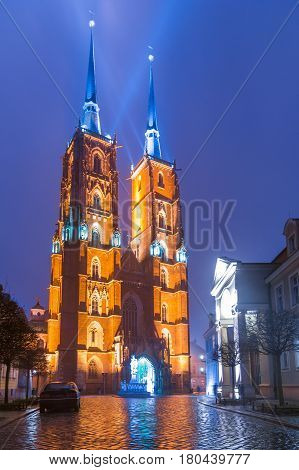 The Cathedral Of St. John The Baptist In Wrocław At Night