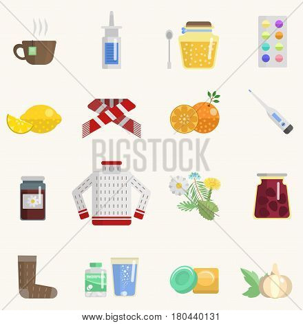 Flu influenza icons collection vector flat design