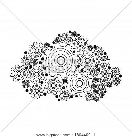 silhouette pinions and gears set collection vector illustration