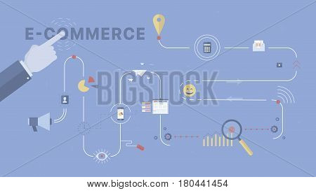 E-commerce process background. Concept business vector for investing into ideas, creative innovative work, growing business. Flat illustration with thin broken line.