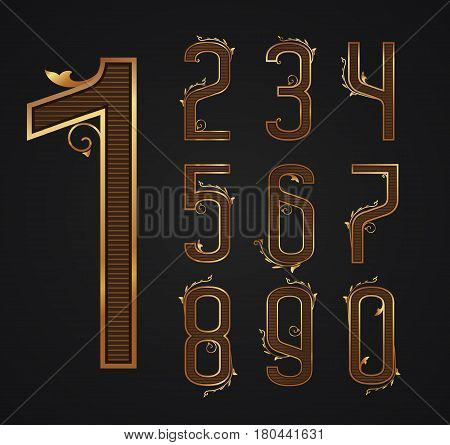 set of vintage digits from 0 to 9. Patterns of elegant gold figures with decor elements. Vector illustration