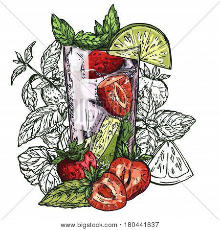 Cute poster or menu design with hand-drawn vector colorful sketch illustration of mojito cocktail, strawberry, lime slices and mint leaves, with the unfilled leaves on background