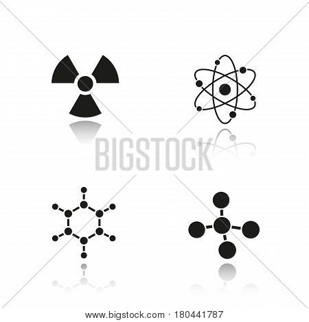 Chemistry and physics. Drop shadow black icons set. Atom, molecule and radioactive caution symbols. Radiation sign. Isolated vector illustrations