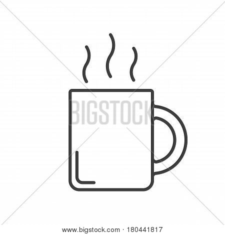 Steaming mug linear icon. Teacup thin line illustration. Hot steaming coffee mug contour symbol. Vector isolated outline drawing