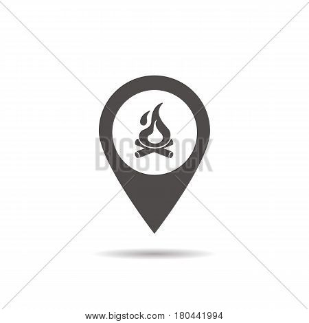 Camping base location icon. Drop shadow map pointer silhouette symbol. Bonfire pinpoint. Campfire nearby. Vector isolated illustration