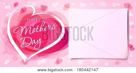 Happy Mothers day love banner. Mother`s Day greeting card template with vector pink hearts and paper on background
