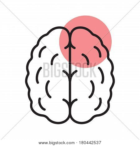 Stroke linear icon. Thin line illustration. Human brain with red circle. Cerebral hemorrhage contour symbol. Vector isolated outline drawing