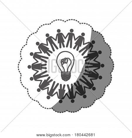 sticker monochrome silhouette teamwork human people circle with ligth bulb vector illustration