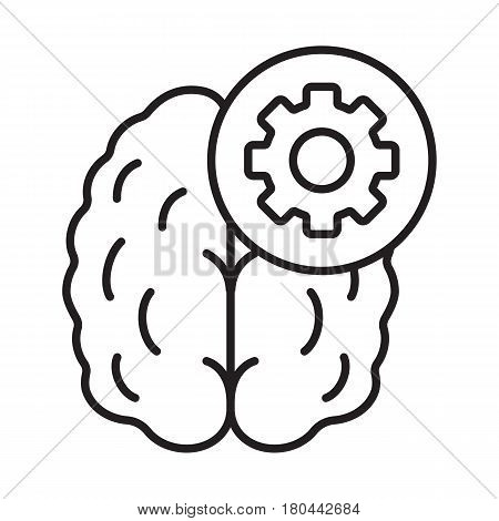 Practical mind linear icon. Technical thinking thin line illustration. Human brain with cogwheel contour symbol. Vector isolated outline drawing