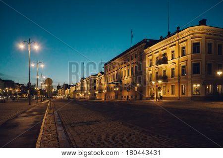 View on Pohjoisesplanadi street by night Helsinki Finland