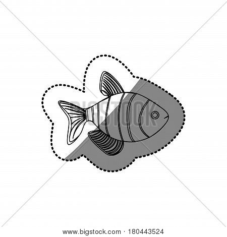 sticker silhouette clownfish aquatic animal icon vector illustration