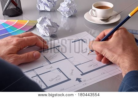 Architect Designing The Interior Of A House Elevated