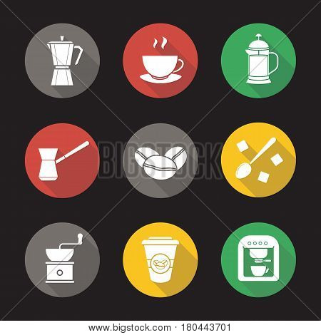 Coffee flat design long shadow icons set. Espresso machine, classic coffee maker, steaming mug on plate, french press, turkish cezve, spoon with sugar cubes, hand mill. Vector silhouette illustration