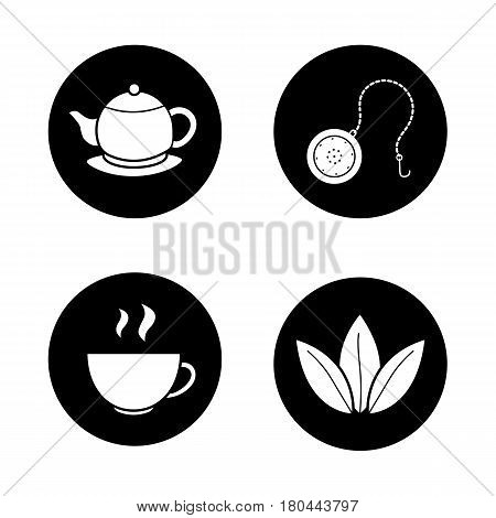 Tea icons set. Steaming cup, teapot on plate, loose tea leaves and ball infuser. Vector white silhouettes illustrations in black circles