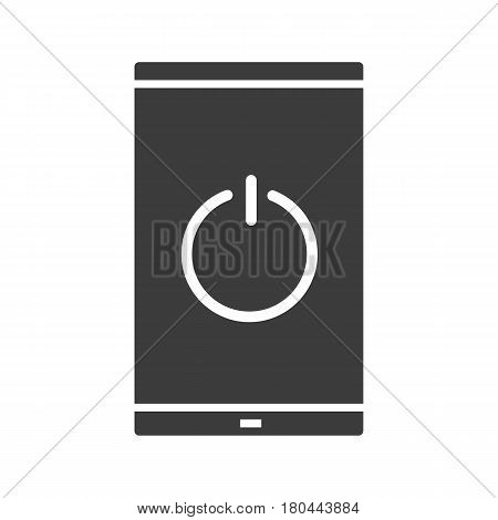 Turn off smartphone icon. Silhouette symbol. Smart phone with switch off button. Negative space. Vector isolated illustration
