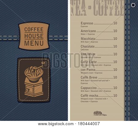 vector menu for coffee house on denim background with price list and a leather label with a picture of an retro coffee grinder