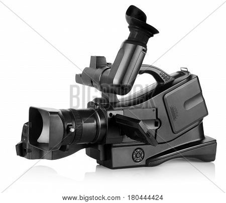 Old professional  video camera isolated. Proportions are changed