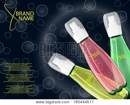 Serum Lemons Roses Aloe Vera Extracts Vitamin and Collagen for Skin on the sparckling Background Concept Skin Care Cosmetic. Mock-ups of glass containers. Blank template of packaging for cosmetic product.