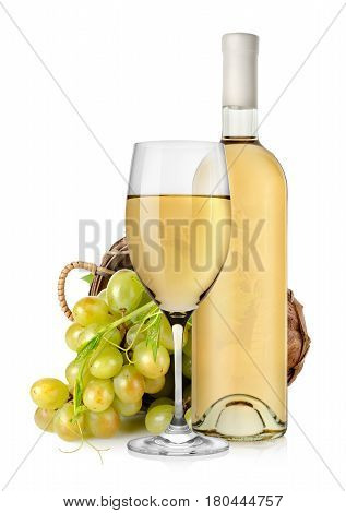 Wineglass and  grapes in a wooden basket isolated