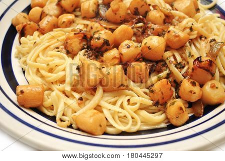 Browned Butter Scallops with Garlic Served on Pasta
