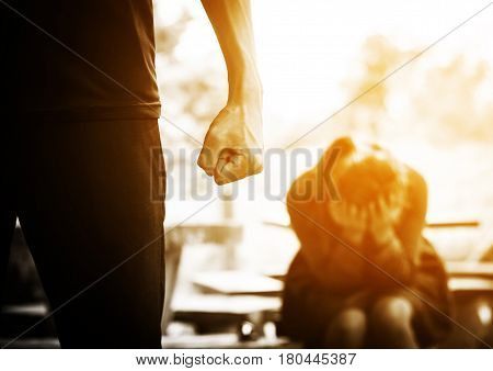 Relationship difficulties or couple fighting problem concept background