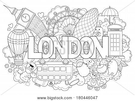 Abstract background with hand drawn text London. Hand lettering. Template for advertising, postcards, banner, web design, printing on clothes.