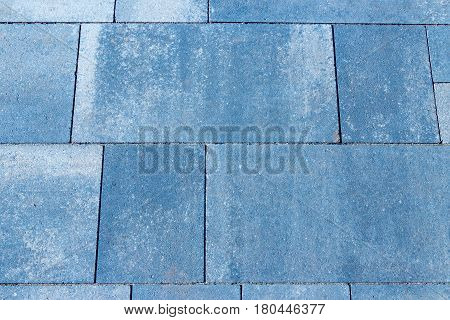 Texture Of A Backyard Pavement - Concrete Or Cobble Gray Different Squares.  Traditional Terrace, Fe