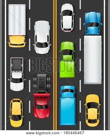 Top view of cars and trucks on the road. Cars are driving on the highway. Traffic on the road. Vector illustration