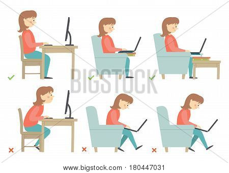 Correct and Incorrect Activities Posture in Daily Routine - Sitting and Working with a Computer. Woman character. Cartoon vector hand drawn eps 10 illustration isolated on white background in flat style.