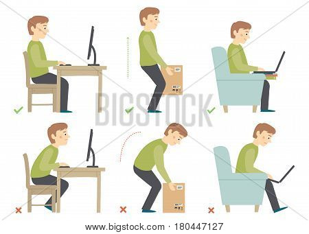 Correct and Incorrect Activities Posture in Daily Routine - Working with a Computer, Lifting Weight. Cartoon vector hand drawn eps 10 illustration isolated on white background in flat style.