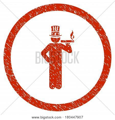 American Capitalist grainy textured icon inside circle for overlay watermark stamps. Flat symbol with dirty texture.