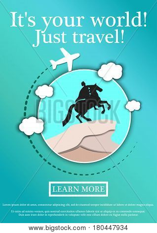 Banner with text Its your world.Just travel. Concept website template.Modern flat design. Vector Illustration.monument to Peter the Great The copper rider, St. Petersburg