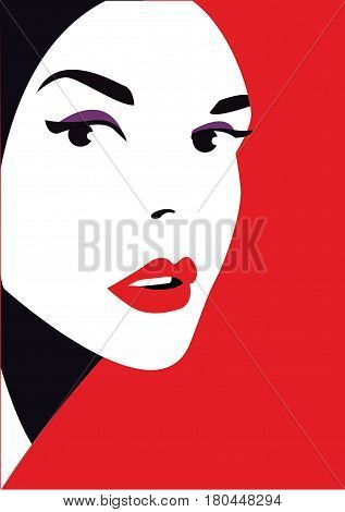 Woman face on red background, fashion style, vector illustration.