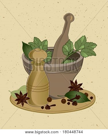 set of Asian spices with a mortar and a ball mill for mix masala