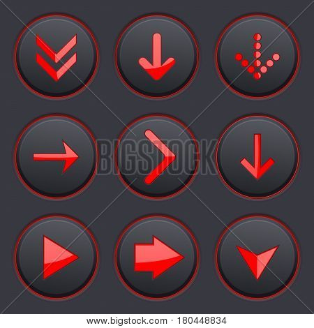 Red arrows on black buttons. 3d icons set. Vector illustration