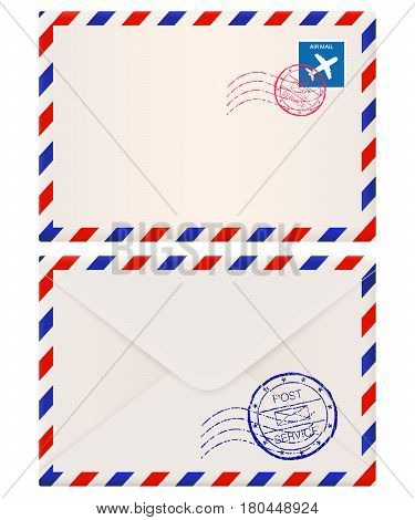 Envelope. International air mail with red and blue frame. Front and back side. Vector 3d illustration isolated on white background
