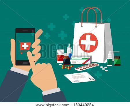 Hand hold smartphone and finger touch pay button. Shopping bag with medical pills and bottles, tablets, healthcare and shopping, pharmacy, online drug store. Vector illustration in flat style