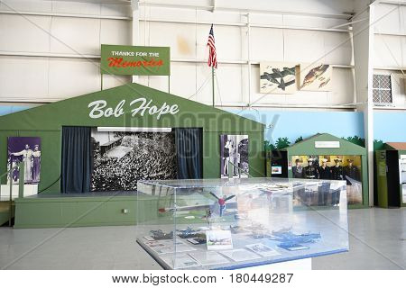 PALM SPRINGS, CALIFORNIA - MARCH 24, 2017: Bob Hope Stage at the Palm Springs Air Museum. Over 100,000 visitors annually tour the 65,000 square foot non-profit museum.