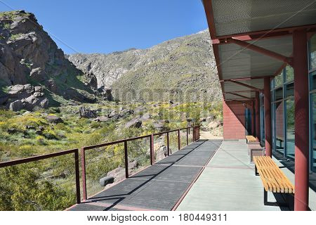 PALM SPRINGS, CA - MARCH 24, 2017: View from the Tahquitz Canyon Visitor Center. The trail head begins at the center leading into the and culturally sensitive areas of the Agua Caliente Reservation.
